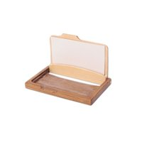 Wholesale Id Name Office Card Holder - Fashion Men Women's Unisex Wooden Business Name ID Credit Card Holder Case Wood Card Storage Box Home Office Supplies ZA3194