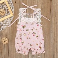Wholesale Lace Open Bodysuit - 2017 Summer Fashion Newborn Toddler Baby Girls Clothes Romper Lace Floral Bow elasticized leg opening Bandage Bodysuit Bodysuit Outfits