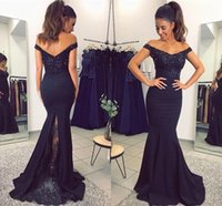 Wholesale Gown Mermaid Bottom - Off the Shoulder Lace Beaded Long Bridesmaid Dresses 2018 New Elegant Country Beach Floor Length Lace Bottom Maid Of Honor Gowns BA7159