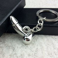 Wholesale Metal Penis Rings - Male Genitalia Key Chain for Lovers Metal Sexy Dick Penis Keyring Individual Keychains Woman Gifts Man Cock Car Key Ring Holder