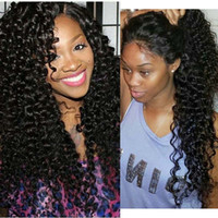 Wholesale Lace Front Wigs Brazillian Hair - Brazillian Curly Wig Glueless Cheap Long Kinky Curly Full Lace Wig Human Virgin Lace Frontal Wigs For Black Women High Ponytail