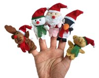 Wholesale Santa Claus Finger - Wholesale- 50pcs lot,Plush Christmas Family finger puppets,Santa Claus,wool Wear toys+finger doll+Christmas gifts+Baby doll+Free shipping t