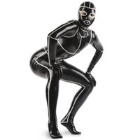 Wholesale White Sexy Catsuit - Black With White Trims Sexy Latex Catsuit With Feet Gloves Hood Mask Open Eyes Nose Mouth Rubber Bodysuit