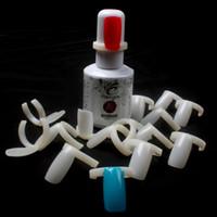 nagelstempelplatte geben verschiffen frei großhandel-Schlussverkauf !!! 100 Teile / los Kunststoff Ring Natürliche Farbe Falsche Nagelkunstwerkzeuge Polnischen Anzeigen Praxis Tipps