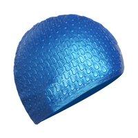 Wholesale Waterproof Fabric Swim Cap - Wholesale- 2017 Women Water Drop Long Hair Swim Cap Men PU Fabric Ear Protect Bathing Hat Sports Waterproof Swimming Caps