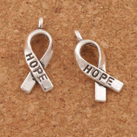 Wholesale Hope Pendants - Awareness Hope Ribbon Metal Alloy Charms 150pcs lot 7.7x18.6mm Tibetan Silver Pendants Fashion Fit Bracelets Necklace Earrings L088