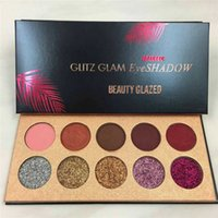 Wholesale Matte Sequins - Beauty Glazed Glitz Glam 10Colors Glitter eyeshadow Sequins Palette Eyeshadow Highlighter Shimmer Beauty Makeup DHL 660222