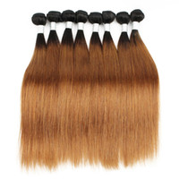 Wholesale straight colored hair weave online - 400g Colored Brazilian Hair Silky Straight T B Auburn Ombre Peruvian Indian Malaysian Cambodian Virgin Human Hair Weaves