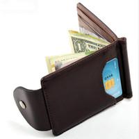 Wholesale Korea Pillow - Korea fashion Brown grey color Money clips high quality leather men wallets hasp mini purses vintage men wallet