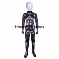 Wholesale custom cosplay costumes for sale for sale - Group buy Hot Sale Black Skull Printed Pattern Lycra Spandex Zentai Suit kids Superhero Cosplay Bodysuit for Halloween