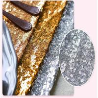 ingrosso tessuto di nozze del panno di tovagliolo-30 * 275cm Tessuto Runner oro argento paillettes tovaglia scintillante Bling per la decorazione della festa nuziale Prodotti Forniture