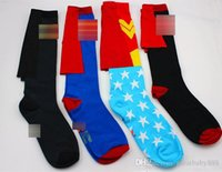 Wholesale Kids Winter Cape - Cosplay superhero cape socks wonder women cotton knee Stockings good quality Big kids mens football socks Sports socks 5 styles