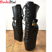 "Wholesale Sexy Gold High Heels - Wonderheel new ballet boots Laceup 7"" heel with strange heel matt pu leather fashion sexy fetish padlocks ballet ankle boots"
