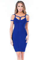 Wholesale Royal Blue Strappy Bandage Dress Modest Keyhole Neck Sexy Summer Holiday Beach Party Women s Dresses