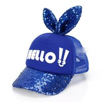 Wholesale Sequin Snapback - 2017 New Fashion Cartoon Girls Baseball Hats Sequins Big Ears Sport Hip Hop Caps Cotton Hello Caps Cute Girl Snapback Cool Caps A6399