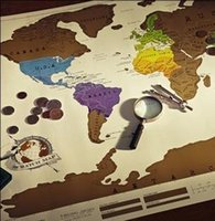 Wholesale Gold Adhesive Paper - Creative World Version Map English Edition Scratch Maps Gold Plated Layer Exquisite Funny Quality Assurance Plat Wall Stickers 12jz R