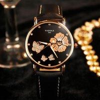 свадебные наручные часы оптовых-2017 Новая Мода Женщин Наручные Часы Бабочка Цветок Bling Натуральная Кожа Кварцевые Часы Свадебные Наручные Часы Женщины Оптовая