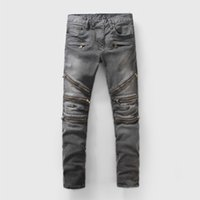 Wholesale Regular Bp - Wholesale-NWT BP Men's Fashion Runway Biker Slim Stratch Acid Washed Grary Zipper Jeans Size 28-38 (#927), Fast Free Shipping