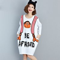 Plus Size Frauen T-Shirt Herbst weißes Kleid Kawaii Cartoon Pattern Print Cotton Fashion weiblichen Big Size Young European TopsTees