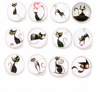 Wholesale Party Serving Plates - 30PCS 2017 hybrid cat pattern Rhine served four nuclear button is fashionable charm jewelry popular element