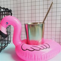 Wholesale Plastic Seat Cushions - cup seat beach pool flamingo inflatable water cup cushion floating drink cup holder spring suppli hot