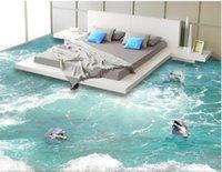 обои для рабочего стола оптовых-3d пвх настил на заказ фото водонепроницаемый пол стикер стены дельфины в волнах картина декор комнаты живопись 3d настенные фрески обои