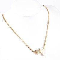 Wholesale White Pearls Necklace Designs - TL Stainless Steel Charm Necklace Never Fade Bear Jewelry Silver Plated 2 Colours Original Design 2017 Pearl