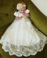 Wholesale Cheap Boys Christening Gowns - 2017 New Cheap Baby Infant Girls Christening Dress Lace Applique White Ivory Boys Girls Baptism Gown With Bonnet Belt Vestido de bautismo