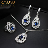 CWWZircons Brand New Fashion Dark Blue Crystal Jewelry Set Sterling Silver 925 Pendiente Collar Y Anillo Para Mujeres T286