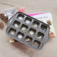 Wholesale Mini Loaf - Wholesale- Carbon Steel Cheesecake Pans Mold Nonstick Mini Round Shape Drop Bottom Mould 12 Cups Loaf Muffin Pan Bakeware DIY Tool
