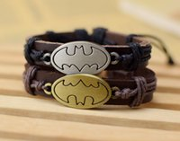 Wholesale Batman Charms - Movie Batman Charm Bracelets Men Jewelry Genuine Leather Bracelets for Women Gifts TV Cartoon 100% New men bracelets