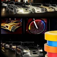 cinta reflectante de vinilo al por mayor-5m 1cm / 2cm coche pegatinas reflectantes cinta de envolver Car Styling vinilo para el coche el cuerpo de PVC 5 colores disponibles