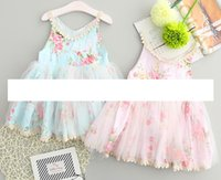 Wholesale Short Fluffy Lace Dresses - baby easter dresses Girls Sleeveless floral vest dress girl Flower Princess Dresses Kids Fluffy Tutu Dress Children Summer party Dress