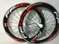 Wholesale 16 Alloy Rims - FFWD 3K Carbon Road Bike Clincher Wheelset 60mm Alloy side Wheel Rim holes : 20 24 16 20 wheels with Poweway R13 hub