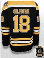 Wholesale full happy - 2017 New Boston Bruins Hockey Jerseys #18 Happy Gilmore Black White Mens Embroidery Jersey,Mixed Orders Good Quality Size S-4XL