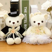 Wholesale Bride Groom Dolls Plush - Wholesale- 2 pcs lot 20cm Kawaii 1Pair NEW Wedding Gift Bride & Groom Bear Bouquet DOLL TOY ; Plush Stuffed TOY Soft Figure DOLL TOY