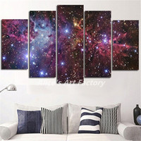Wholesale Purple Oil Painting Canvas - Abstract 5 Pieces Purple Galaxy Space Painting Calligraphy Art Picture Wall Canvas Prints for Home Decor No Frame