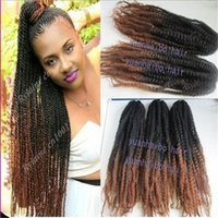 "Wholesale Top Kanekalon Hair - Stock top quality 20"" black brown ombre marley braid 100 kanekalon synthetic hair kinky twist two tone braiding"