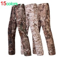 Wholesale Man Hunting Pants - Wholesale- Shark Skin Softshell Outdoors Tactical he Camouflage Pants Men Winter Army Waterproof Thermal Camo Hunt was Fleece Pants