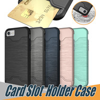 Wholesale Cover Iphone Cards - For iPhone X 8 plus Case Brush Card Slot Holder Back Cover Kickstand Case For Galaxy S8 Armor Case iPhone 6 6plus 7 Plus S8 plus OPP Package
