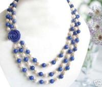 Wholesale Lapis Lazuli Pearl Necklace - Wonderful! 7-8MM White Akoya Pearl & Lapis lazuli Beads Necklace Flower Clasp