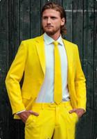 Wholesale Cool Slim Men Blazer - Wholesale- Yellow Men Suits Fashion Cool Tuxedos Custome Homme Terno Slim Fit New Arrival Blazer Handsome Notch Lapel (Jacket+Pant+Tie)