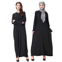 neue schwarze dubai abaya großhandel-Neue Ankunft Islamischen Schwarzen Mantel Abayas Muslim Lange Kleid Für Frauen Malaysia Dubai Türkische Damen Kleidung Hohe Qualität Robe