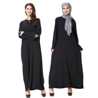 Wholesale Muslim Robes - New Arrival Islamic Black Cloak Abayas Muslim Long Dress For Women Malaysia Dubai Turkish Ladies Clothing High Quality Robe