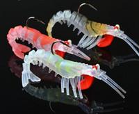 Wholesale Shrimp Led Lures - 3PCS lot Soft Shrimp Fishing Lures Artificial Shrimp Baits 7g 10g 13g 19g Colors Soft Lure Bionic Bait With Lead Hook