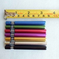 Wholesale Aluminium Pipes - 82mm length Metal smoking pipe Filter Tips aluminium one hitter with spring aluminium spring bats can clean itself 5colors