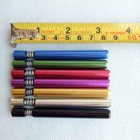 Wholesale Aluminium Tips - 82mm length Metal smoking pipe Filter Tips aluminium one hitter with spring aluminium spring bats can clean itself 5colors