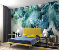 feder wohnzimmer dekor großhandel-Mode Bunte Feder 3D Wandbild Tapete Moderne Abstrakte Kunst Wohnzimmer Restaurant Hintergrund Wand Papier Kreative Wohnkultur