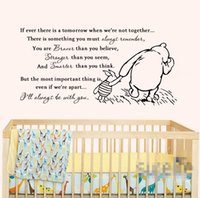 Wholesale Paper Wallpaper Baby - 2016 Vinyl Classic Winnie the Pooh If Ever There Is A Tomorrow Baby Quote Wall Decal Nursery Wall Stickers Wallpaper D460