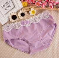 Wholesale Wholesale Dk - 12pcs Women cotton stretchable vintage lace underwear edge bowknot fruit color Briefs female panties Girls Underpants Intimates pants DK-018